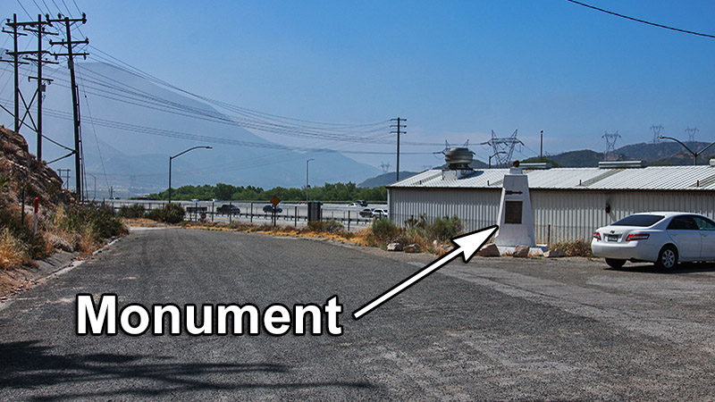 The monument is located at the end of Wagon Train Rd - a hint to the monument