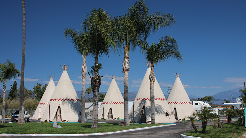 "A cluster of ""wigwam"" cabins"