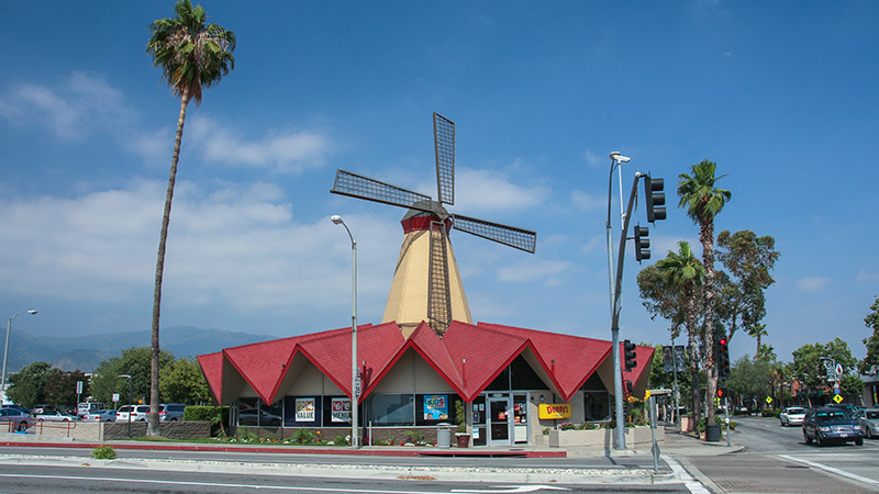 An old Van De Kamps restaurant windmill