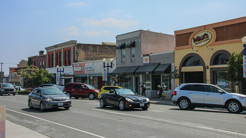 The old buildings of downtown Azusa