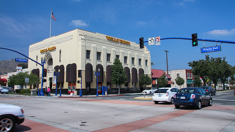 Classic bank building on the corner of Foothill Blvd (Route 66) and Azusa Ave