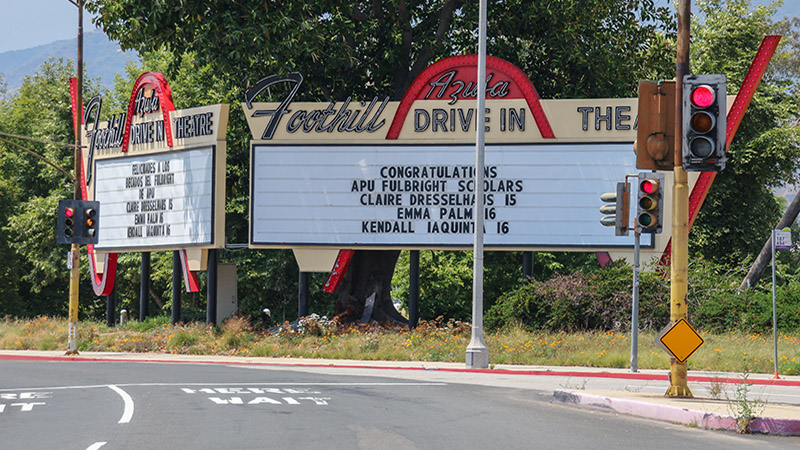 Preserved drive-in sign along Foothill Blvd - actual drive-in is gone