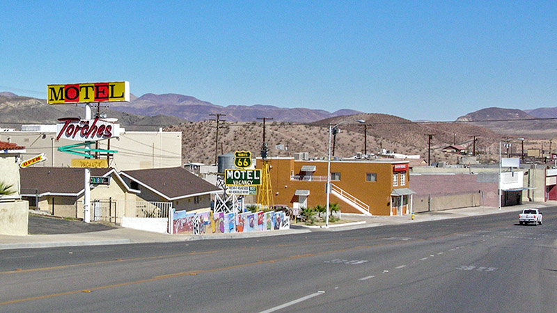 "Class ""motor-lodges"" seen along Route 66 in Barstow"
