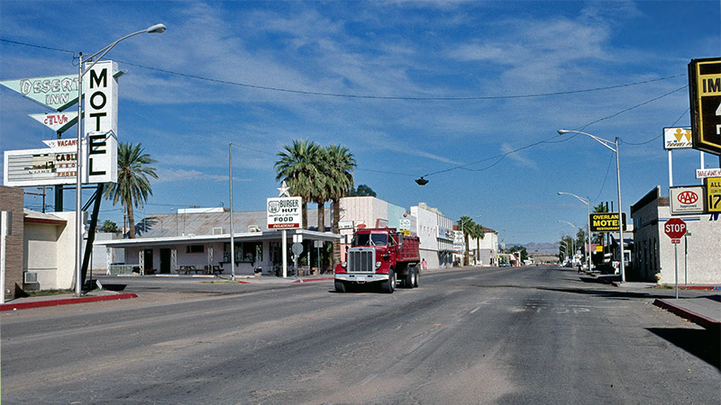 Route 66 passes through downtown Needles