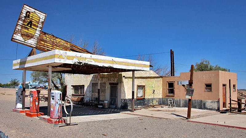 A decaying Whiting Bros gas station