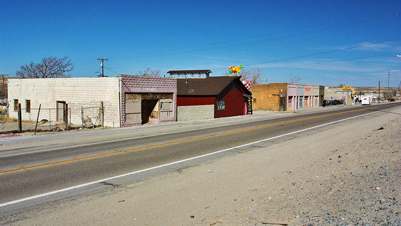 A row of early 1900-era buildings along Route 66