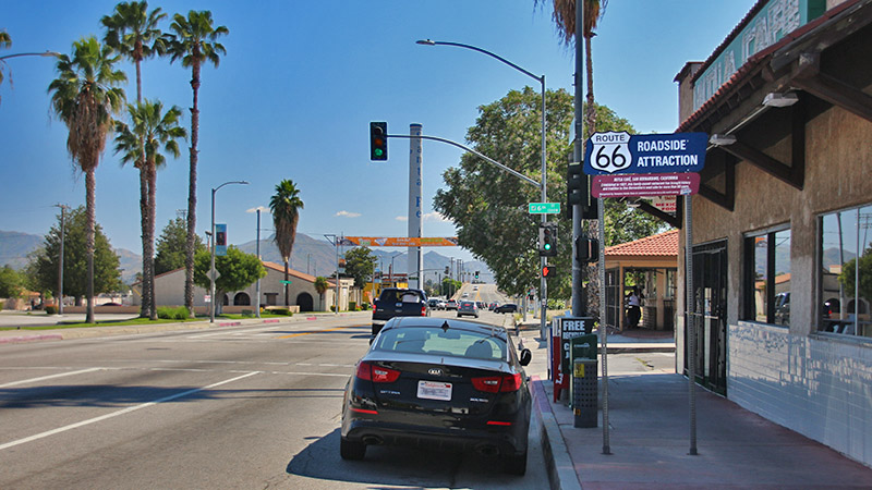 Route 66 makes a right turn here onto 5th Street, which turns into Foothill Blvd.